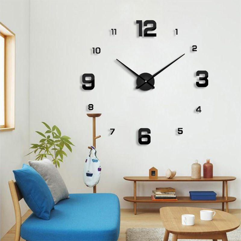 2017 New wall clock <font><b>modern</b></font> designHome decoration big mirror 3D DIY large decorative wall clocks watch unique gift Freeshipping