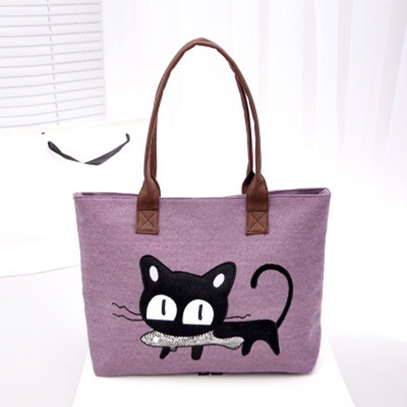 Canvas shopping bag cute cat supermarket Women Beach Bag Color Printing lady Girls Handbags reusable tote bag Simple eco bag mm