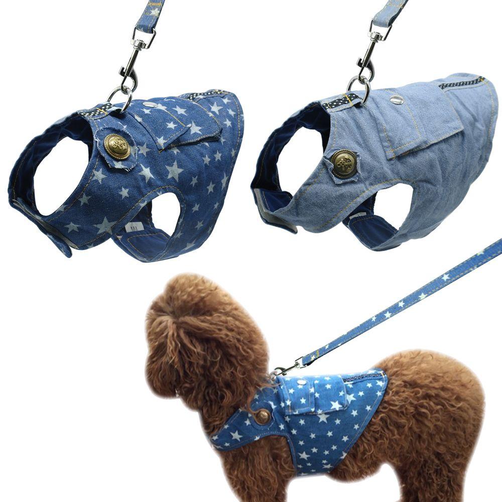 Denim Chien Harnais et Laisse Jeans Pet Gilet Veste Pour Petit Chiot Chiens Bouledogue Français Pug Chihuahua Yorkshire Gilet Vêtements S M L