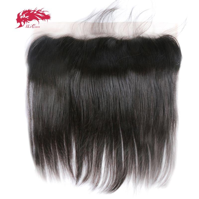 Ali Reine Cheveux 13x6 Dentelle Frontale Fermeture Droite Brésilienne Vierge Cheveux Partie Libre Pré-Pincées Avec Bébé cheveux Livraison Gratuite