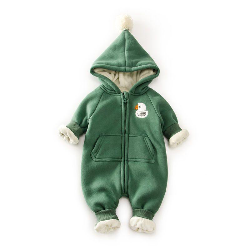 10 градусов зимние теплые флисовые Детские ползунки с капюшоном Одежда для новорожденных с рисунком медведя Одежда для маленьких мальчиков ...