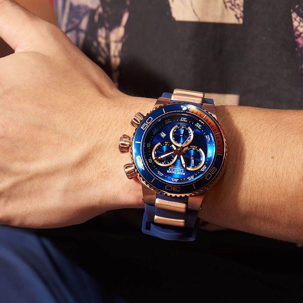 Reef Tiger/RT Top Brand Luxury Blue Sport Watch for Men Rose Gold Waterproof Watches Rubber Strap Relogio Masculino RGA3168