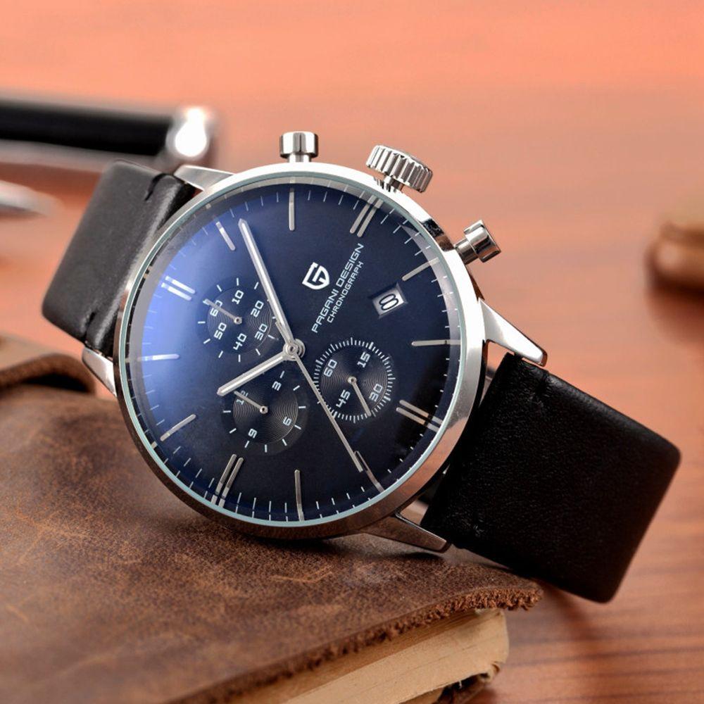 PAGANI DESIGN Original Marke Männer Sport Military Quarzuhr Mode Business Chronograph Leder Armbanduhr Relogio Masculino