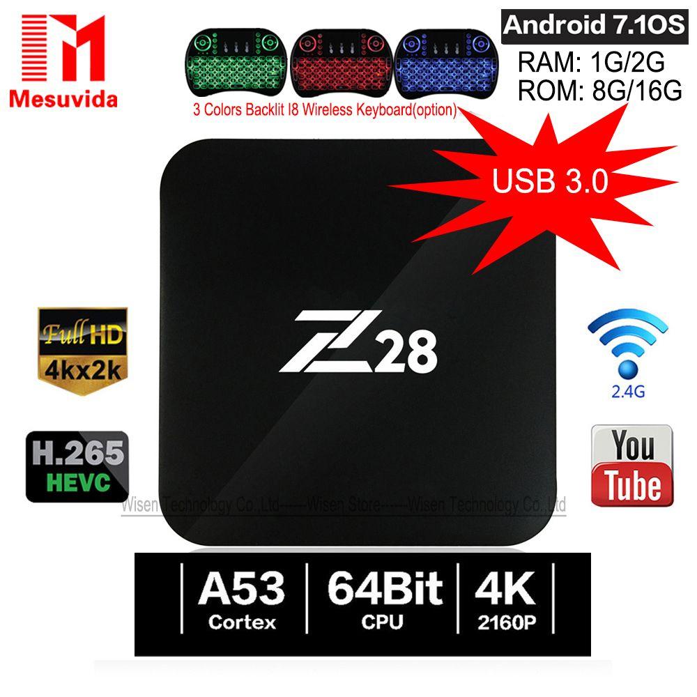 Mesuvida Z28 TV Box Android 7.1 RK3328 64Bit Quad Core 1G/8G 2G/16G Set Top Box Support 4Kx2K USB3.0 2.4GHz WiFi Media Player
