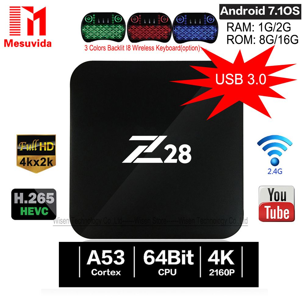 Mesuvida Z28 TV Box Android 7.1 RK3328 64Bit Quad Core 1G/8G 2G/16G Set Top Box Support 4Kx2K USB3.0 2.4GHz WiFi Media Player