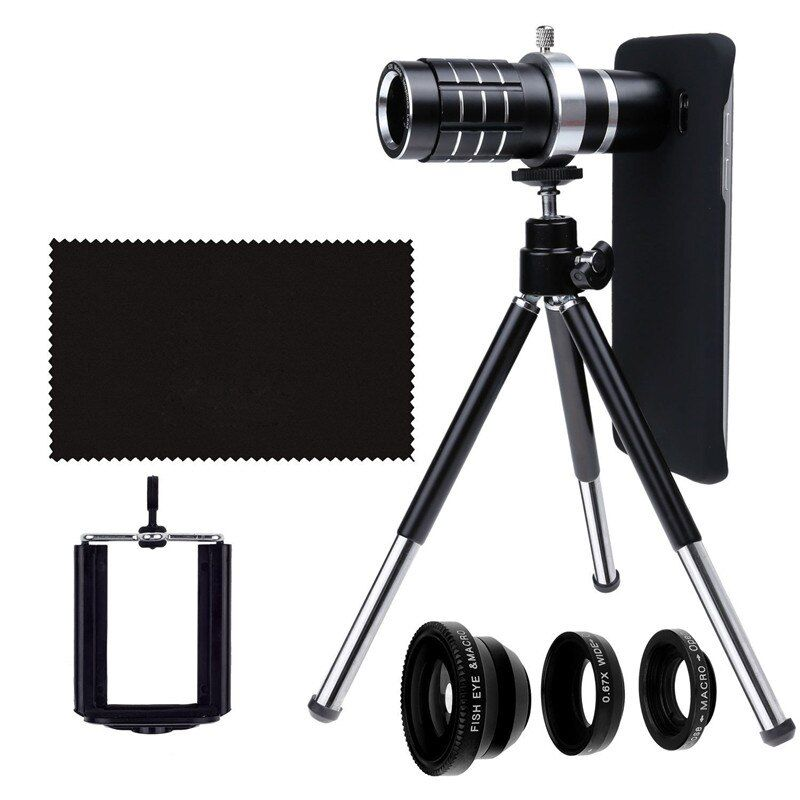 9 Piece Camera Photo Kits:Tripod+Universal Holder+Four Awesome Lenses+Cover Case For Apple iPhone 6S 7 PLUS 5 5S SE 8 8 PLUS