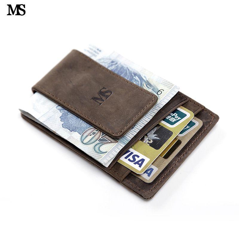 MS offre spéciale hommes en cuir véritable portefeuille affaires décontracté carte de crédit ID titulaire avec fort aimant pince à billets brun K308