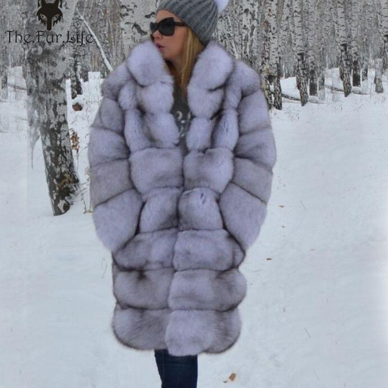 Frauen Echt Pelzmantel Dicke Warme Weibliche Natürliche Fuchs Pelz Jacke Oberbekleidung Mode Kragen Winter Echt Fuchs Pelz Mantel für frauen