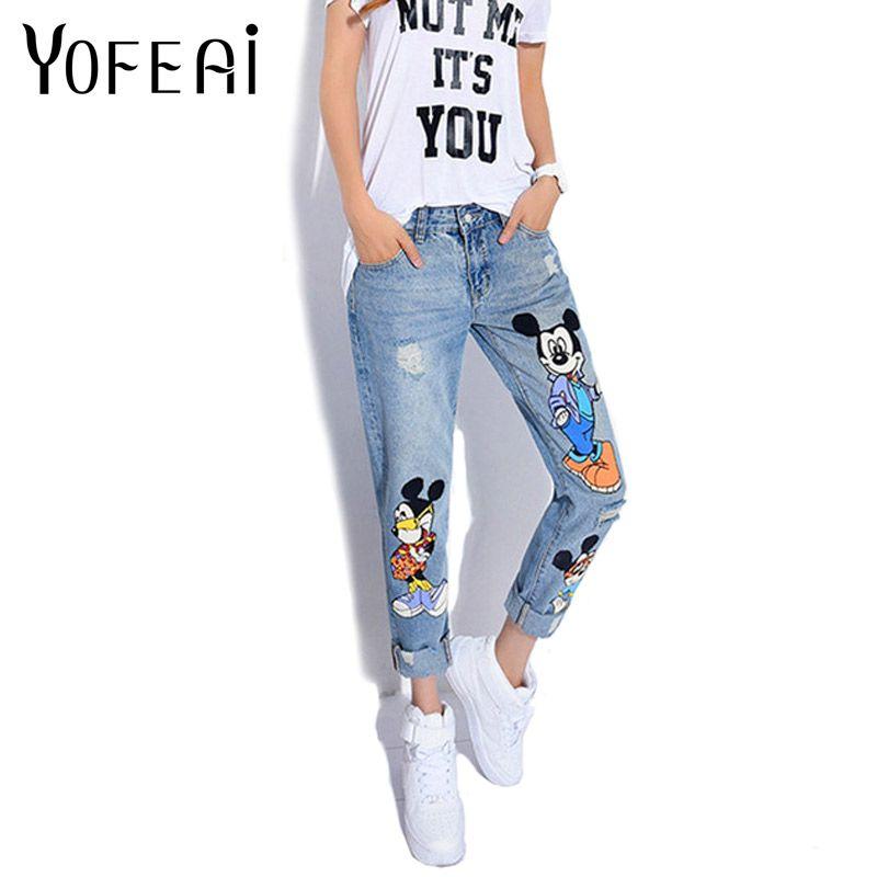 YOFEAI 2018 Jeans Femmes décontracté Denim Cheville-Longueur Copain Pantalon Femme Pantalon Imprimé décontracté Harem Pantalon Femme grande taille 4XL 5XL