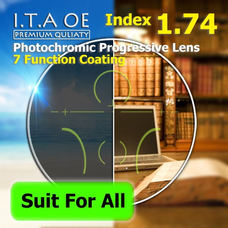 Adult 1.74 Freeform Index Photochromic Transition Progressive Addition Multifocal Optical Prescription Lens Glasses 7 Coating