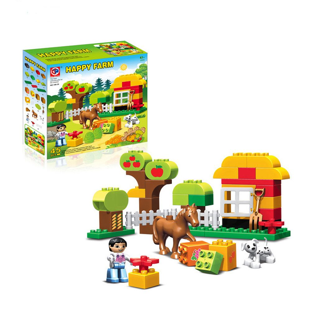 45pcs Large Size Happy Animals Farm Building <font><b>Blocks</b></font> Sets Animal Model Bricks Toys Compatible With legoeINGlys Duplos Baseplate