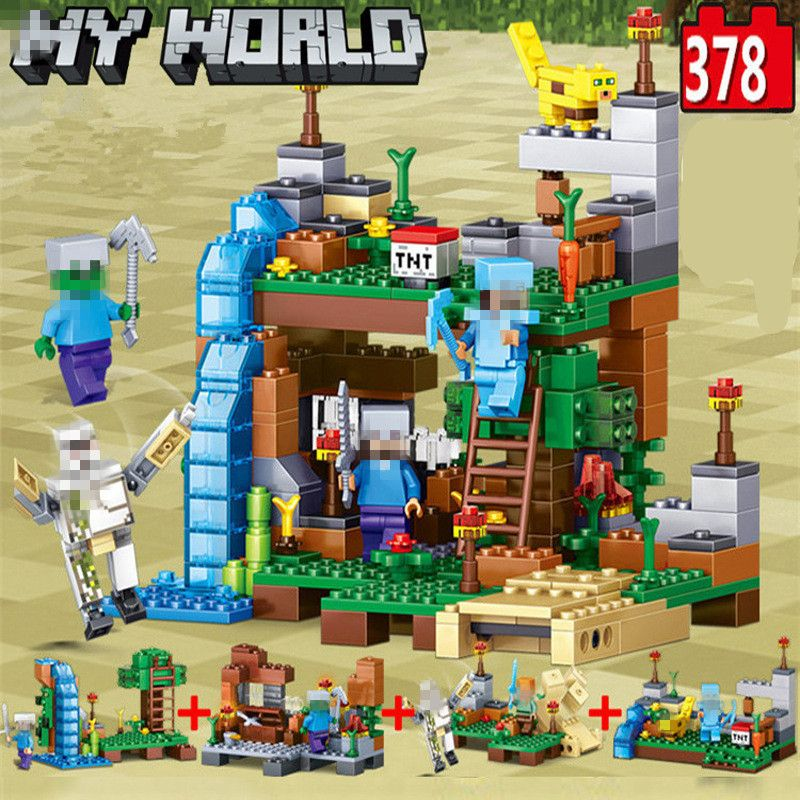 My World Minecrafted Figures City Building Blocks 4 in 1 DIY Bricks Legoed Minecraft City Educational Enlighten Children Toys