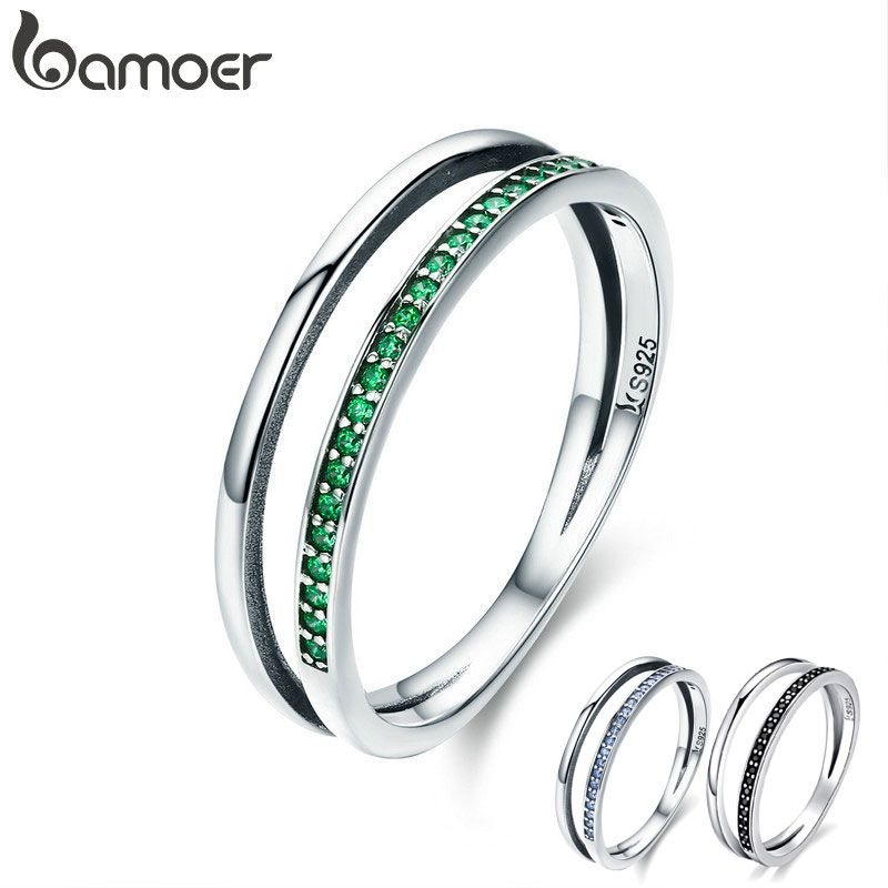 BAMOER Hot Sale 100% 925 Sterling Silver 3 Color Stackable Double Circle Layers Ring for Women Authentic Silver Jewelry SCR294