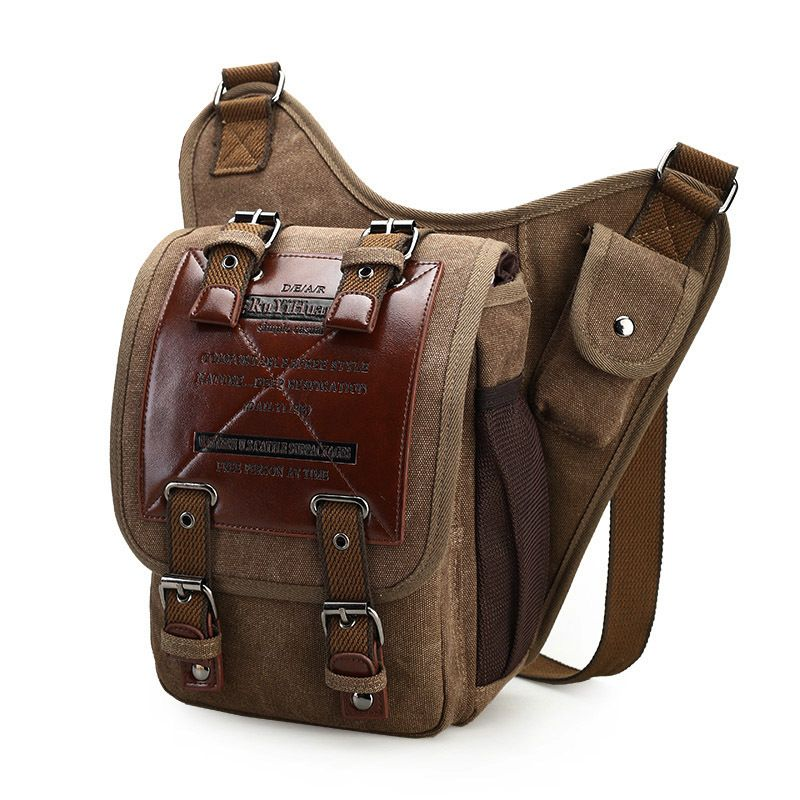 Fashion Waist Bag Man New Durable Shoulder Bag Canvas Leather Military Drawstring Portable Travel Leather Bag Oil Waxed <font><b>Triangle</b></font>