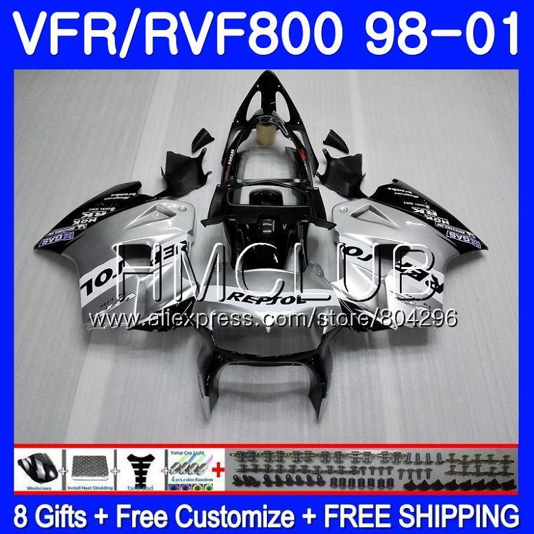 Körper Für HONDA VFR800R Abfangjäger VFR800RR 98 99 00 01 78HM. 0 VFR 800RR 800 RR VFR800 1998 1999 2000 2001 Verkleidung Repsol silber