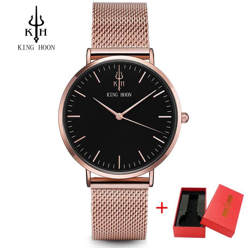 KING HOON Waterproof Rose <font><b>Gold</b></font> Watch Women Quartz Watches Ladies Top Brand Luxury Female Wrist Watch Girl Clock Relogio Feminino