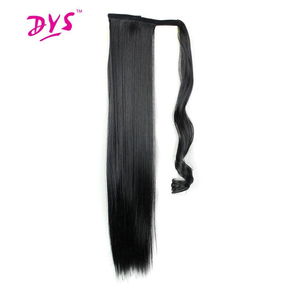 Deyngs 60 cm Long Clip droit en queue de cheveux faux cheveux queue de cheval postiche avec épingles cheveux synthétiques queue de poney Extensions de cheveux