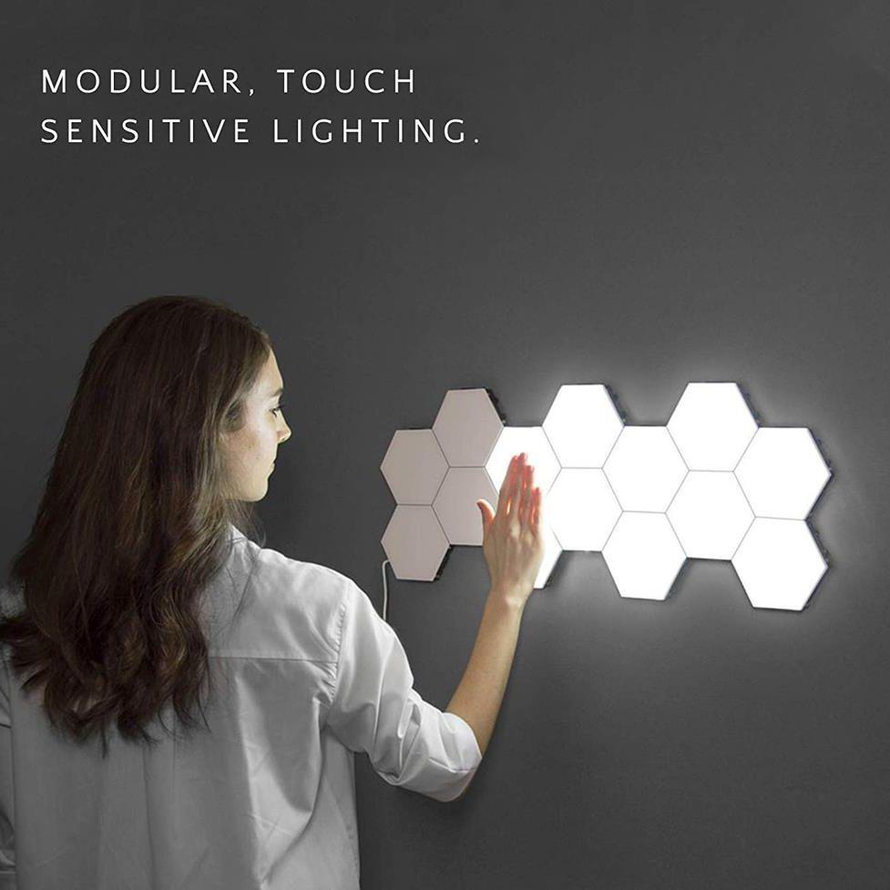 Lampe quantique led lampes hexagonales modulaire tactile sensible éclairage veilleuse hexagones magnétiques décoration créative mur lampara