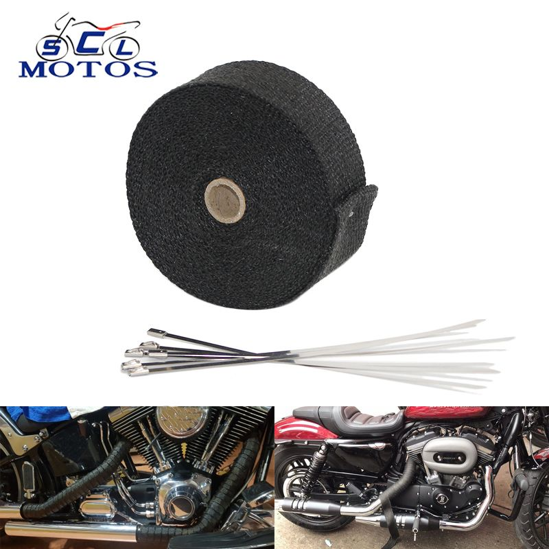 Sclmotos-5 10 15M Black Color Moto Exhaust Pipe Header Heat Wrap Resistant Exhaust Downpipe Thermo Turbo Wrap for Car Motorcycle