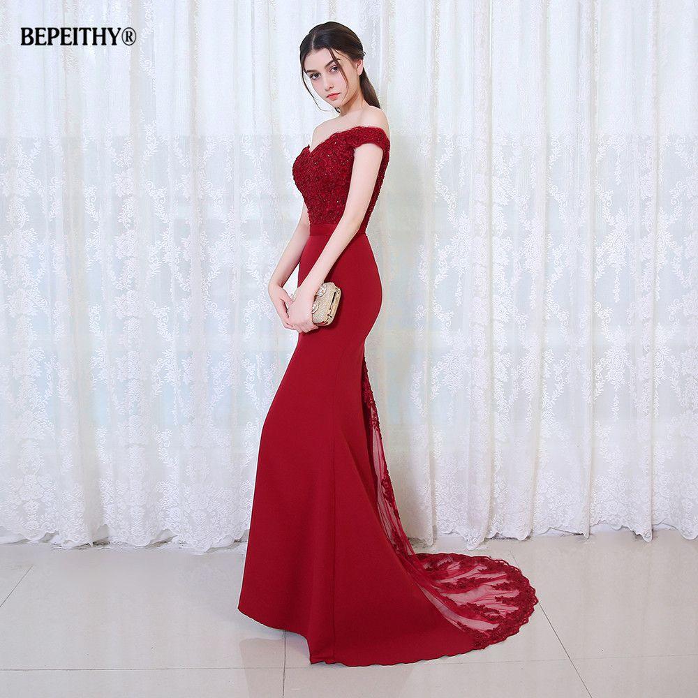 BEPEITHY Robe De soirée sirène bourguignonne longue Robe De soirée parti élégant Vestido De Festa longue Robe De bal 2019 avec ceinture