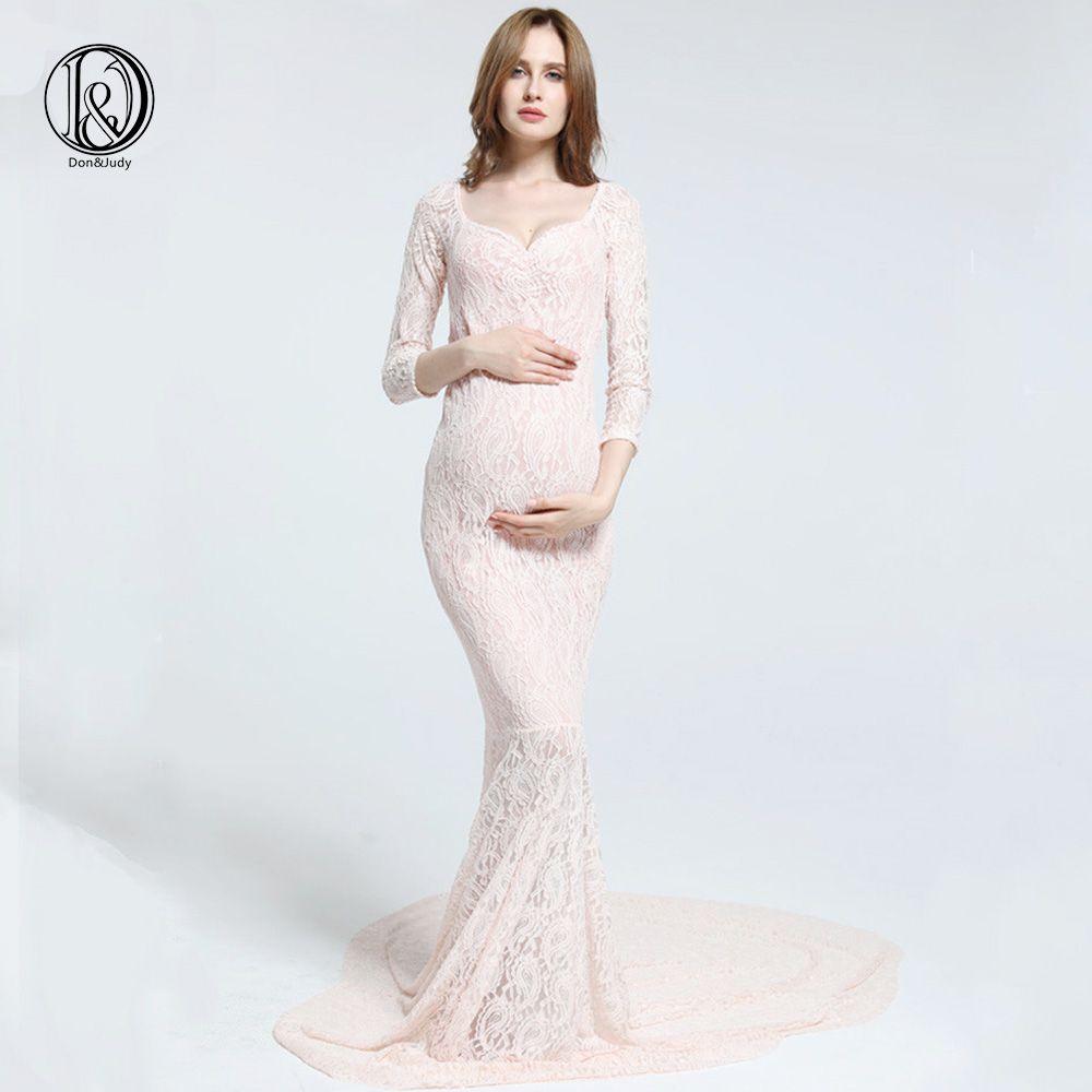 Stretch Dentelle De Maternité Photographie Robe Maxi manches longues robe De Maternité Photo Robe Bébé Douche cadeau