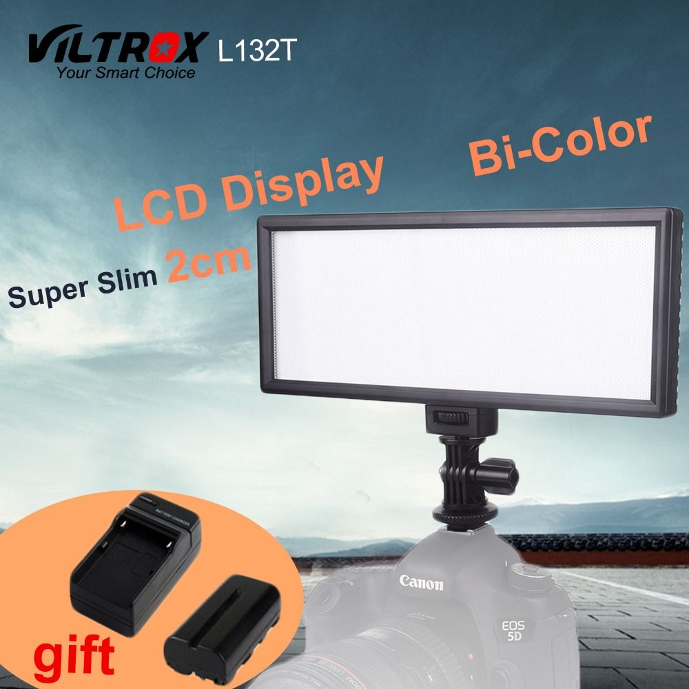 <font><b>Viltrox</b></font> L132T LCD Display Bi-Color & Dimmable Slim DSLR Video LED Light +Battery +Charger for Canon Nikon Camera DV Camcorder