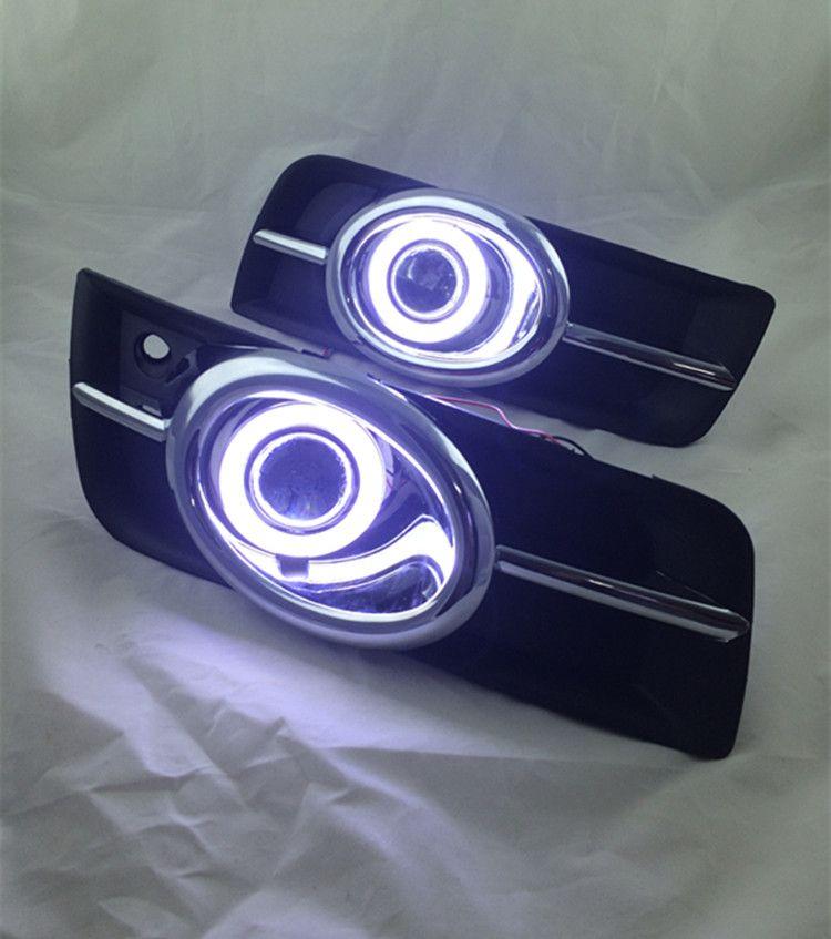 eOsuns Innovative COB angel eye led daytime running light DRL +Fog Light + Projector Lens for chevrolet cruze, chrome version