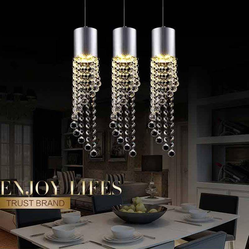 5 W Led Lampe En Cristal Moderne Pendentif Lumière Cuisine Salle À Manger Boutique Argent Métal 3 Dirige À La Maison Corde Luminaires 220 V