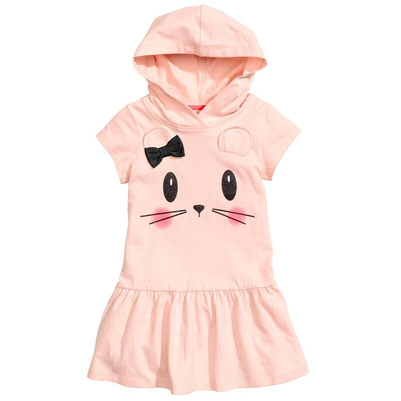 Bear Leader Girls Dress 2017 Brand Hooded Cartoon Baby Girls Dress Active Cartoon Cats Pattern Children Clothing 2-6 year