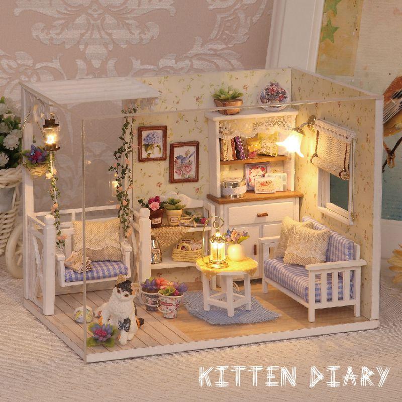 Miniature bricolage maison de poupée en bois Miniatura maisons de poupée meubles assembler Kit à la main modèle maison de poupée jouet pour enfants cadeau h13
