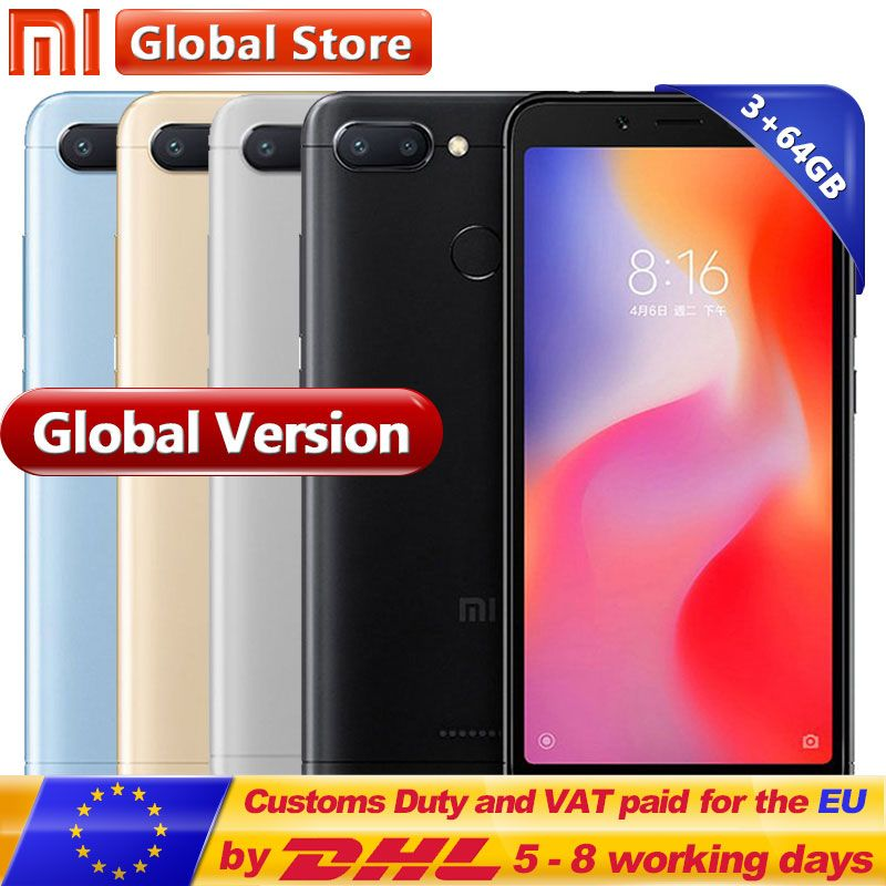 Original Xiaomi Redmi 6 3GB 64GB Helio P22 Octa Core Mobile Phone 5.45