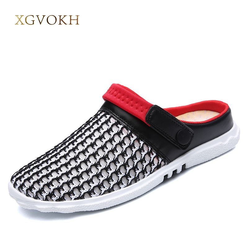 XGVOKH Men Sandals men slippers Summer Breathable Fabric Mesh Sandal lighted outdoor Beach mens Shoes Slippers size 36-44