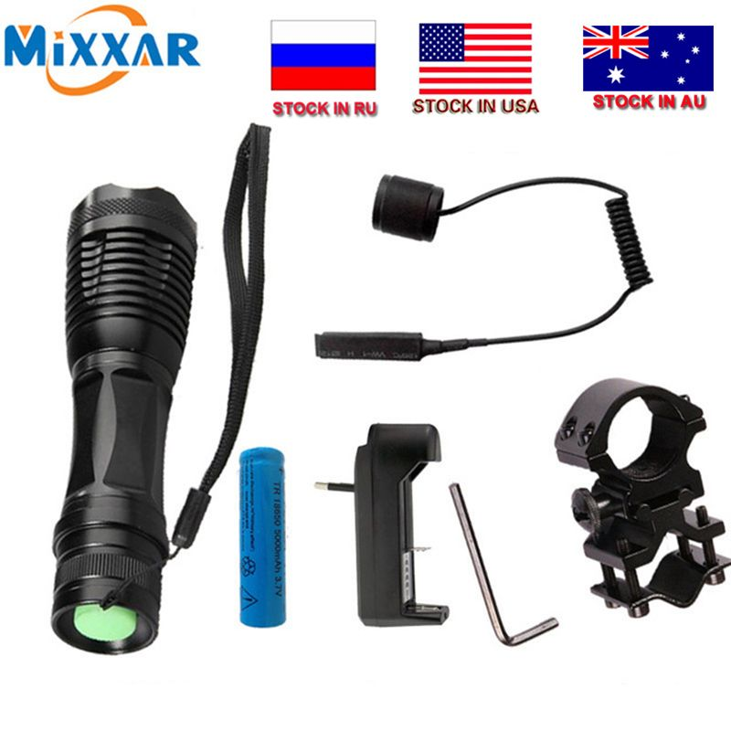 Czk20 T6 led torch 9000Lm zoomable tactical <font><b>flashlight</b></font> for Hunting +1*18650 battery + Remote Switch+Charger+Gun Mount
