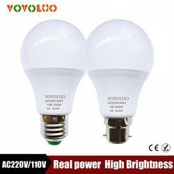 NOUVELLE LED Lampe E14 3 W 5 W 7 W 9 W E27 12 W 15 W 220 V 110 V LED Ampoule Lumière SMD2835 Rapide Dissipation de La Chaleur Haute Lumineux Lampada LED lampes