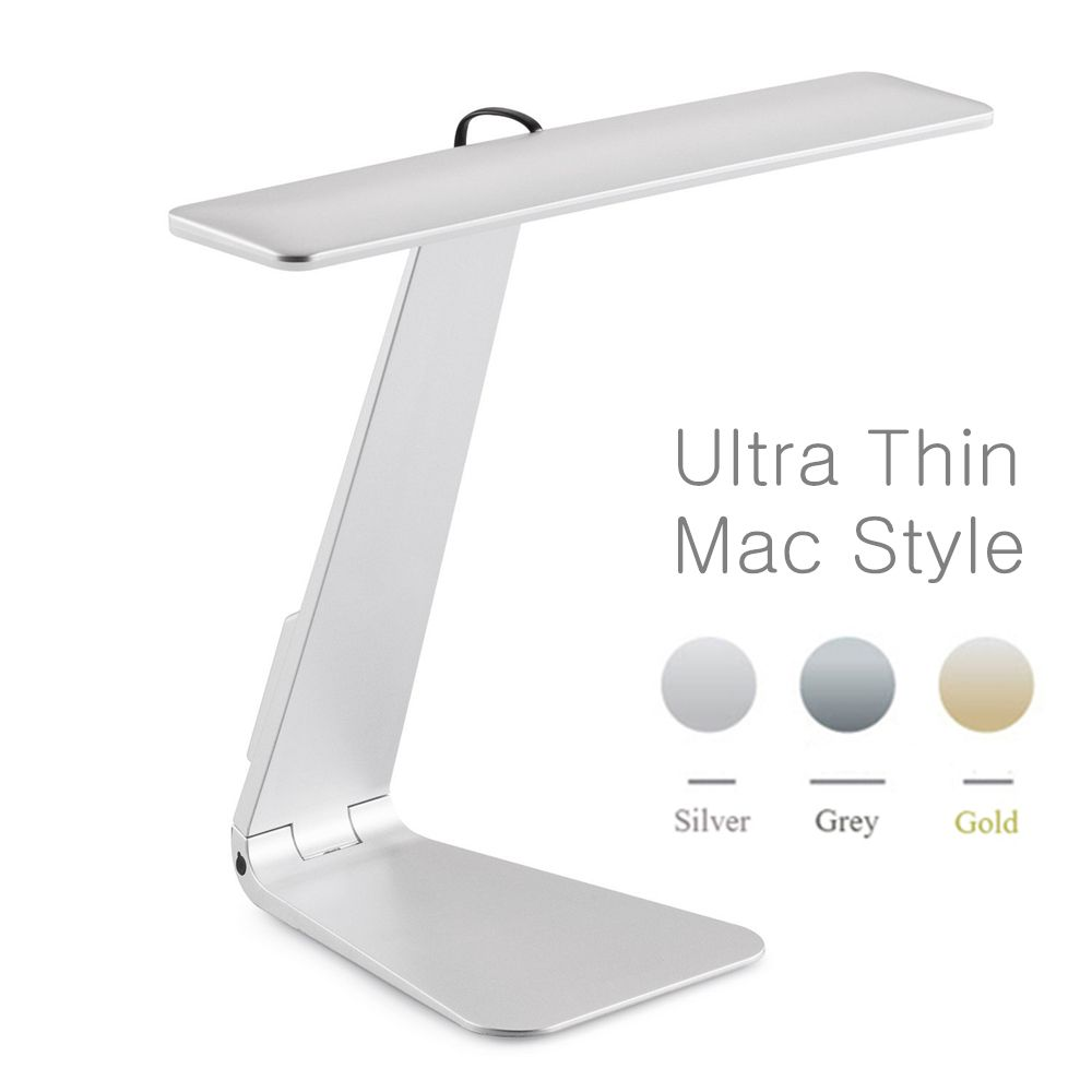 Ultrathin Mac Style 3 Mode Dimming LED Reading Study Desk Lamp Soft Eye-Protection Night Light Folding Rechargeable Table Lamp