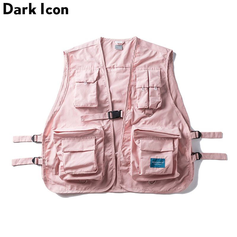 DARK ICON Military Multi Pocket Vest Hip Hop Vest Men 2019 Hi-end Fashion Solid Color Buckle Men's Vest Streetwear