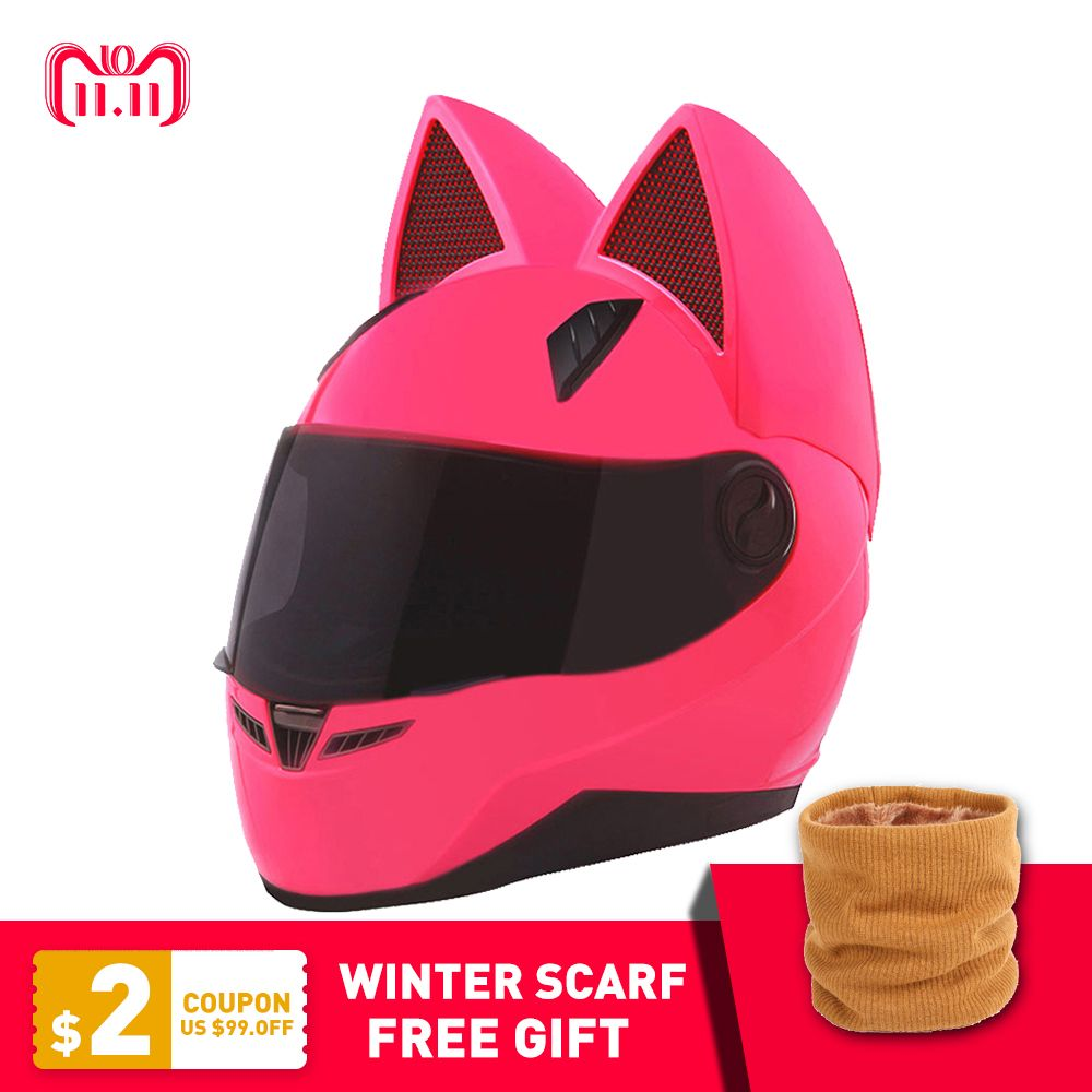 NITRINOS Motorcycle Helmet Women Moto Helmet Moto Ear Helmet Personality Full Face Motor Helmet 4 Colors Pink Yellow Black White