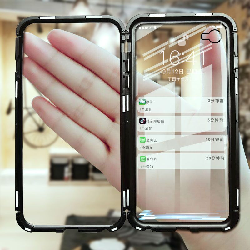 For iphone XS MAX Cases invisible Strong magnetic adsorption shell phone tempered Anti-fall shells For apple iphone XS 7 8 plus