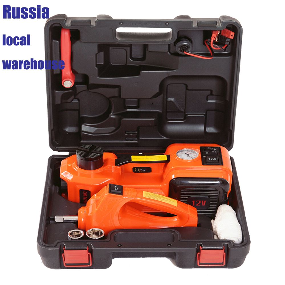 fast free shipping electric hydraulic car floor jack impact wrench and air pump with Russia local warehouse