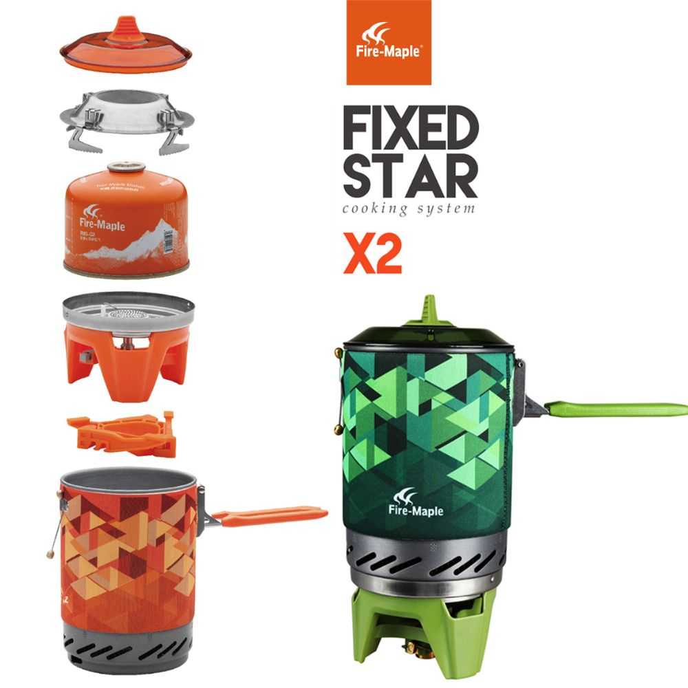 Fire Maple Outdoor Personal Cooking <font><b>System</b></font> Hiking Camping Equipment OvenPortable Best Propane Gas Stove Burner Set FMS-X2 Pot