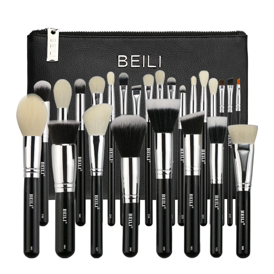 BEILI Complete Professional 25 pieces Foundation Powder Concealer Eyes hadow Makeup Brush set  With bag