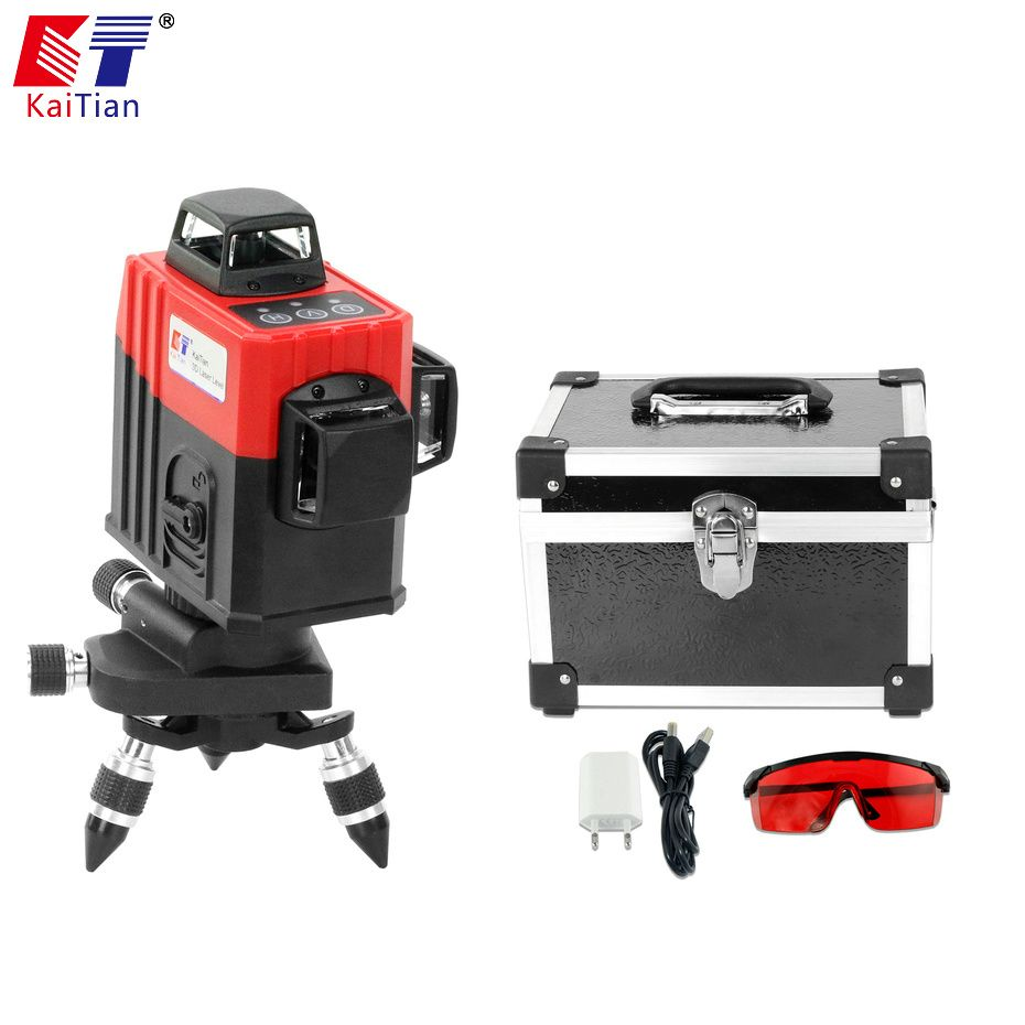 KaiTian 3D Laser Level 650nm 12 Lines Cross Level with Slash Function and Self Leveling Outdoor 360 Rotary Red Laser Beam Tools