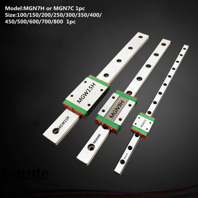 MGN7 CNC 7mm miniature linear rail guide MGN7C L100 - 600 mm MGN7C linear block carriage or MGN7H narrow carriage