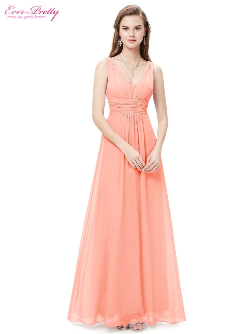 Formal Evening Dresses Ever Pretty EP08110 Sexy Lady Double V Neck Chiffon Evening Gown 2018
