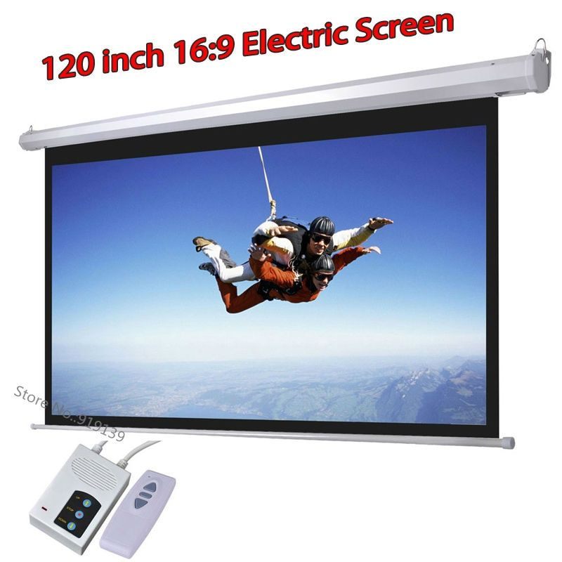 DHL Fast Shipping Big Cinema Motorized Projection Screen 120 Inch 16:9 Matt White 3D Projector Electric Screen With Remote