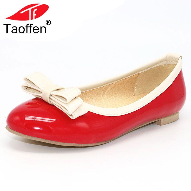 TAOFFEN Size 33-48 Women Flats Shoes Women's Shoes Girls Retro Shoes Women Fashion Pointed Toe Slip-on Casual Shoes