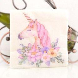 Nuevo blanco belleza flores unicornio papel servilletas café & Party Tissue servilletas Decoupage decoración papel 33 cm * 33 cm 20 unids/pack/lot