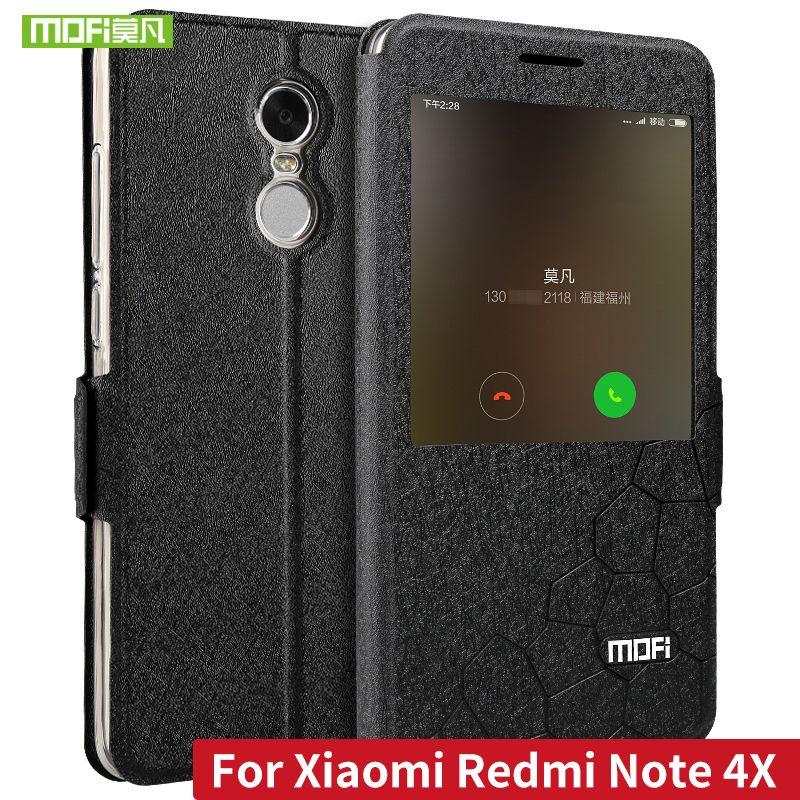 Étui en cuir MOFI Flip PU pour Xiaomi Redmi Note 4X avec support fonction couverture pour Redmi Note 4 Version mondiale Fundas fenêtre intelligente
