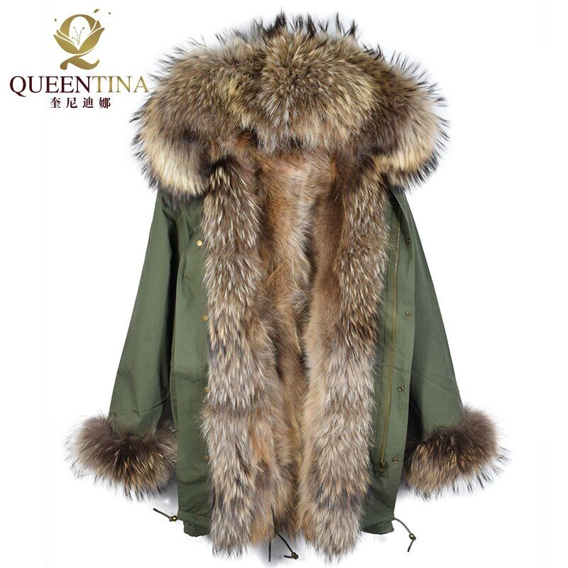 Raccoon Fur Parka Jacket Hooded Raccoon Fur Collar Winter Warm Long Coat Thick Real Fur Parkas Women Natural Fur Jacket