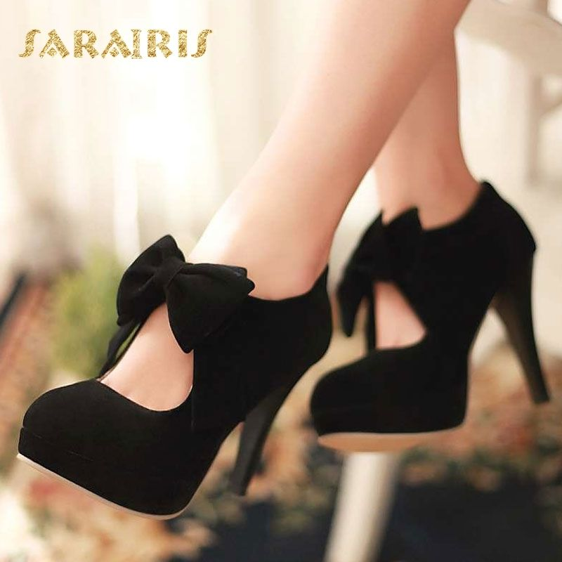 SaraIris Bow Tie High Heels Platform Zipper Party Wedding Shoes Woman Pumps Large Size 32-48 Black Yellow Pink Green Red Gray